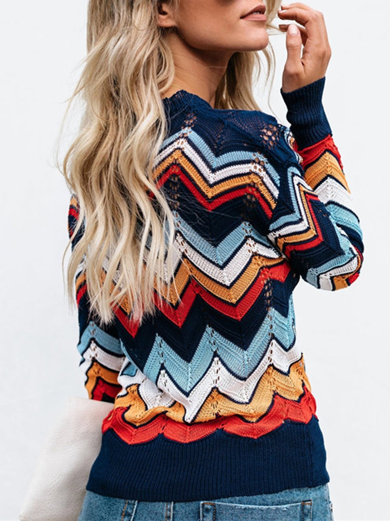 Casual Polyester Geometric Crew Neck Sweater