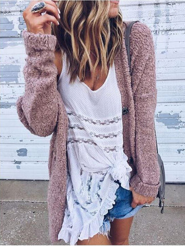 Casual Plain Long Sleeve Coat