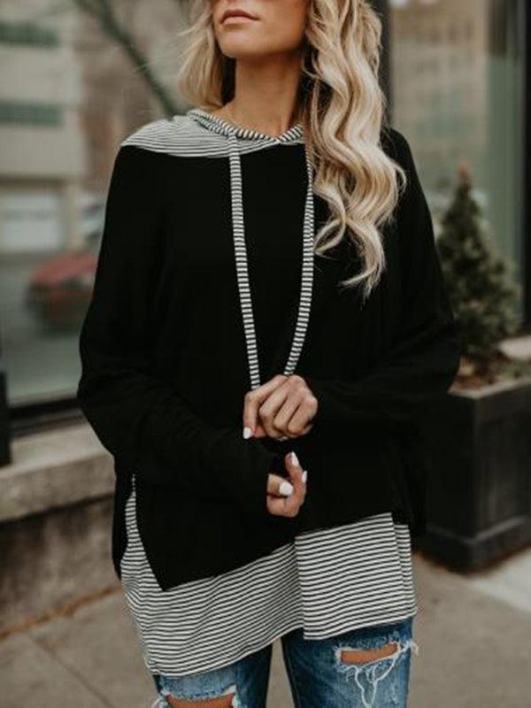 Casual Striped Stitching Long Sleeve Sweater