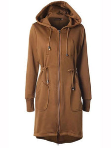 Casual Long Sleeve Solid Pockets Zipper Shift Coat