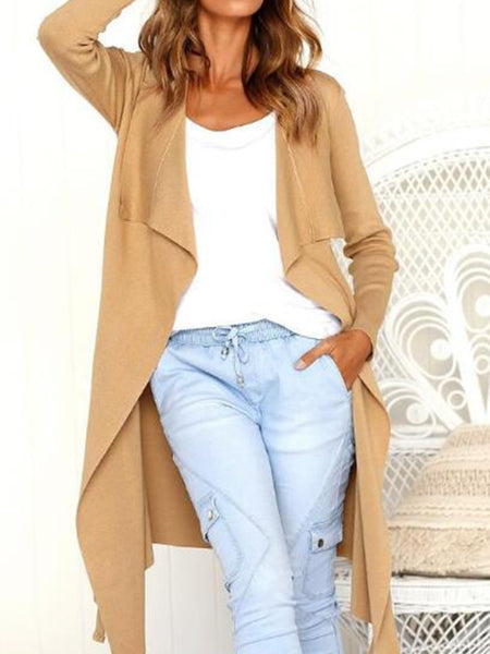 Casual Plain Long Sleeve Lapel Sweater
