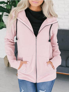 Casual Long Sleeve Hooded Plain Sweater
