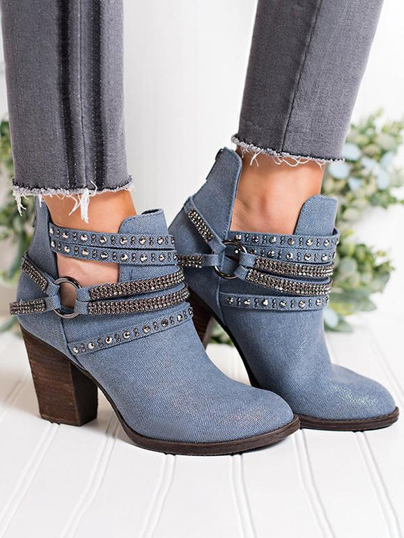 Casual Chunky Middle Heel Adjustable Buckle Boots