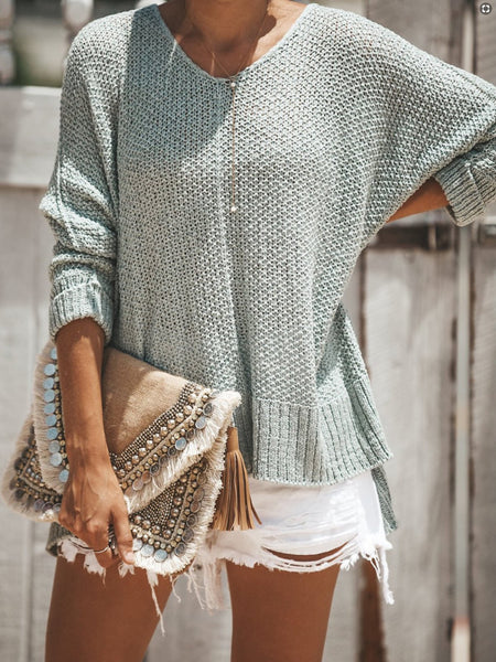Cozy Solid Color V neck Sweater