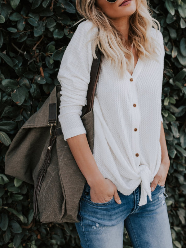 Casual V-neck Button-up Long Sleeve Sweater