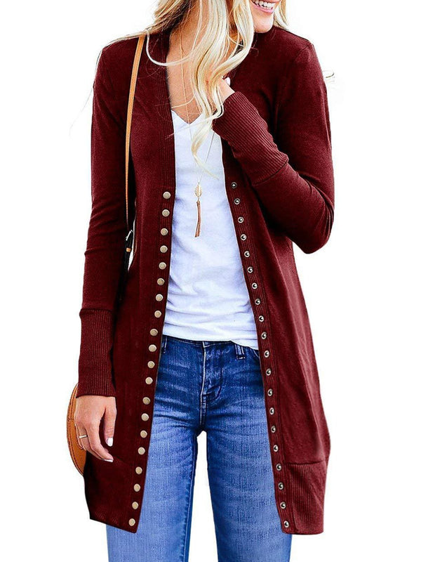 Basic Solid Buttoned Knitted Long Sleeve Cardigan