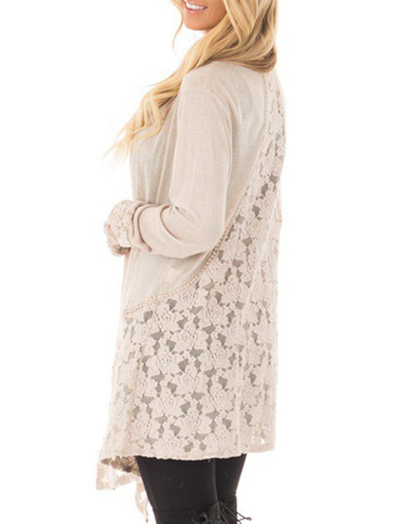Cozy Lace Paneled Long Sleeve Cardigan