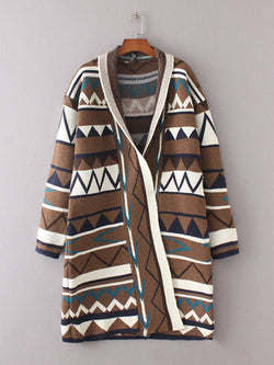 Abstract Casual Long Sleeve Slightly Stretchy Cardigan