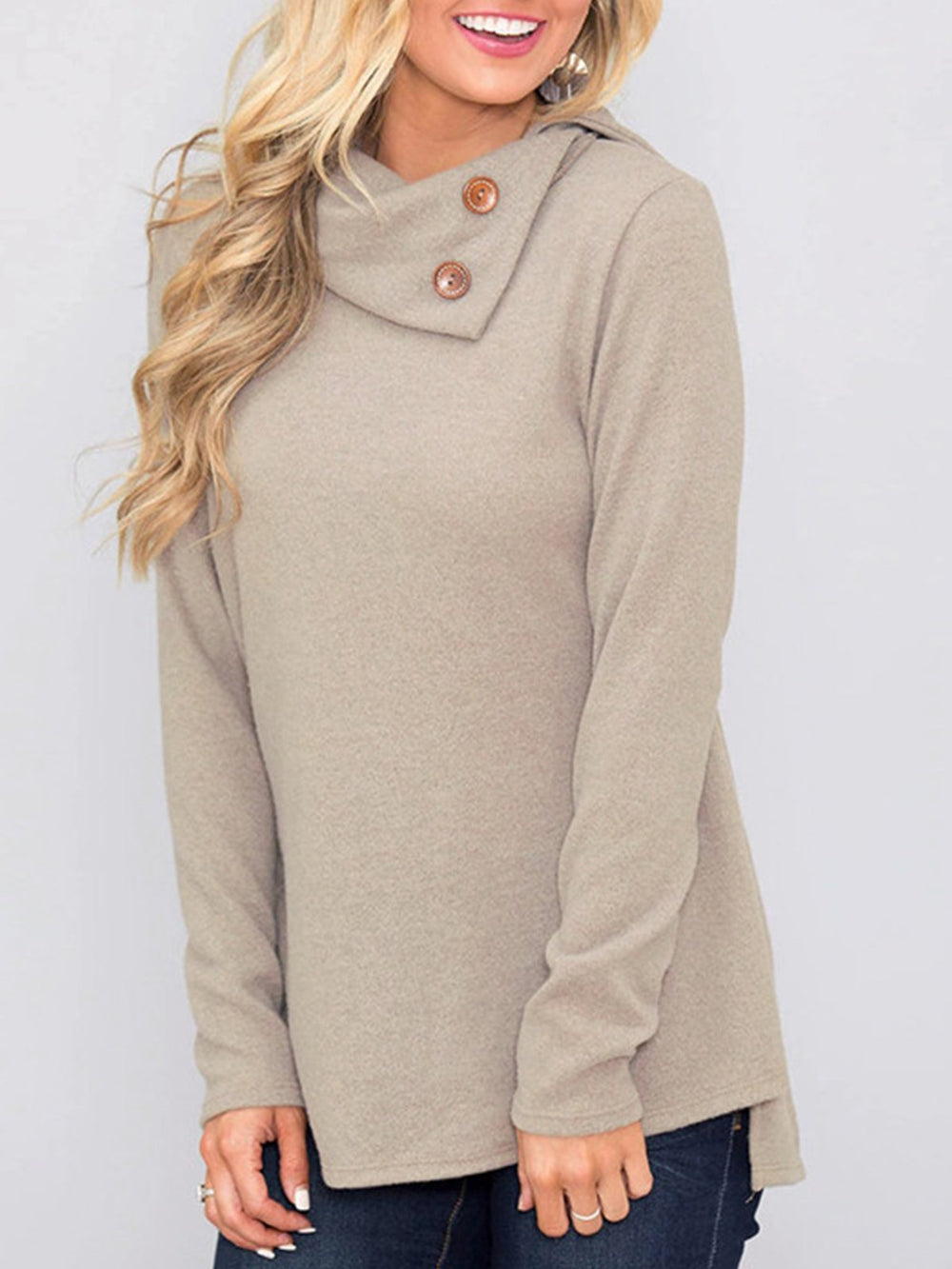 Buttoned Collar Lapel Long Sleeve Casual Sweater