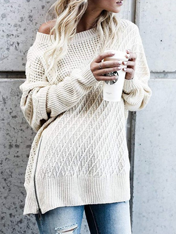 Batwing Side Slit Zipper Knitted Sweater