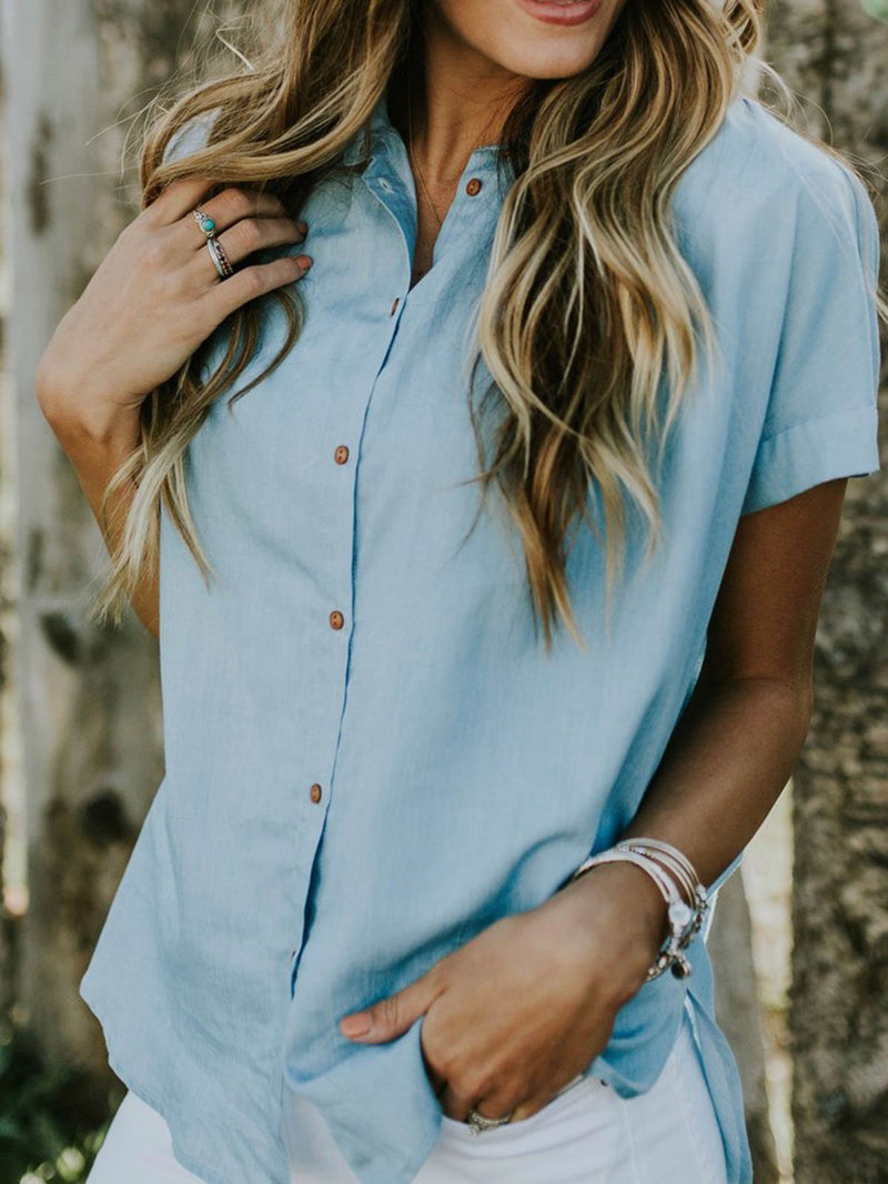 Women Short Sleeve Pockets Cotton Casual Blouses & Shirts