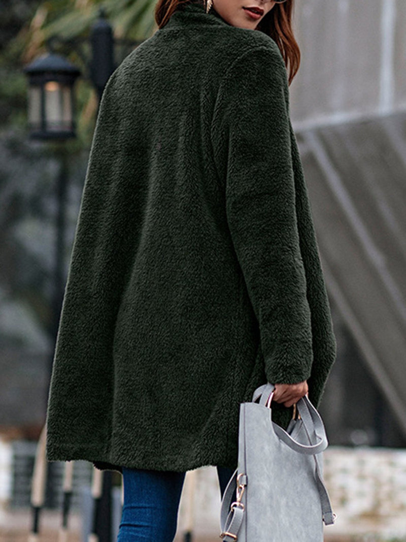 Casual Solid Color Teddy Bear Long Sleeve Coat
