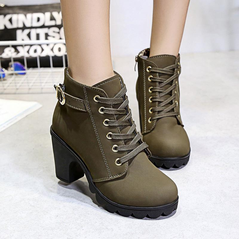 Chunky Heel Lace-up Women Plus Size Slip-on Ankle Boots