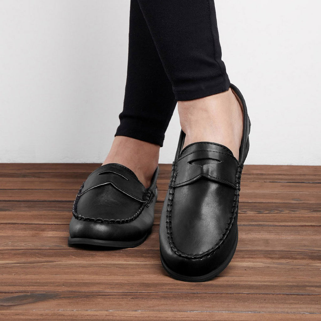 Women's Vintage Slip On Loafers Low Heel PU Leather Loafers