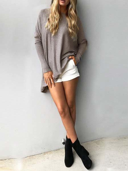 Casual Knitted Solid Batwing Crew Neck Sweater