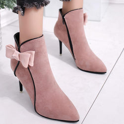 Bowknot Women Ankle Slip-On Boots
