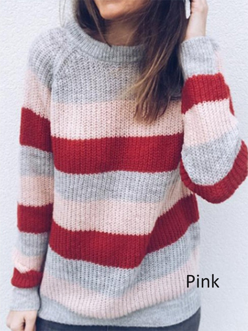 Casual Rainbow Striped Knitted Long Sleeve Sweater