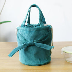 Corduroy Bowknot Bucket Bags Lunch Bags For Women