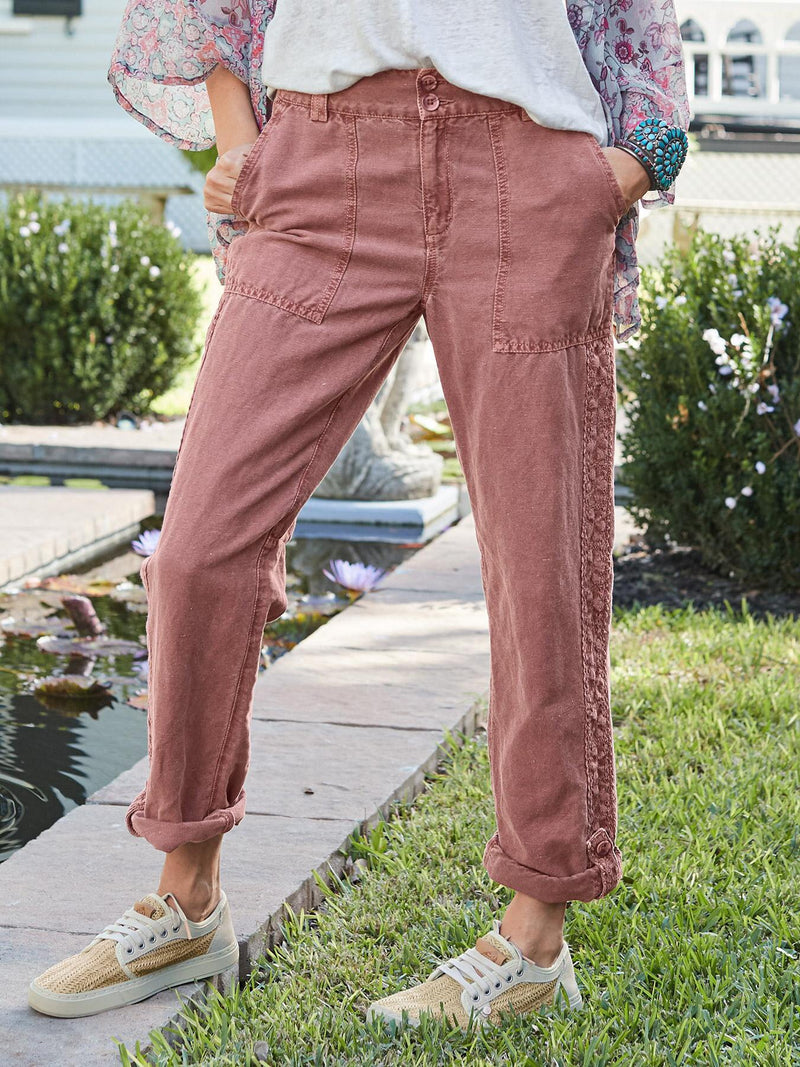 Red Solid Pockets Casual Pants