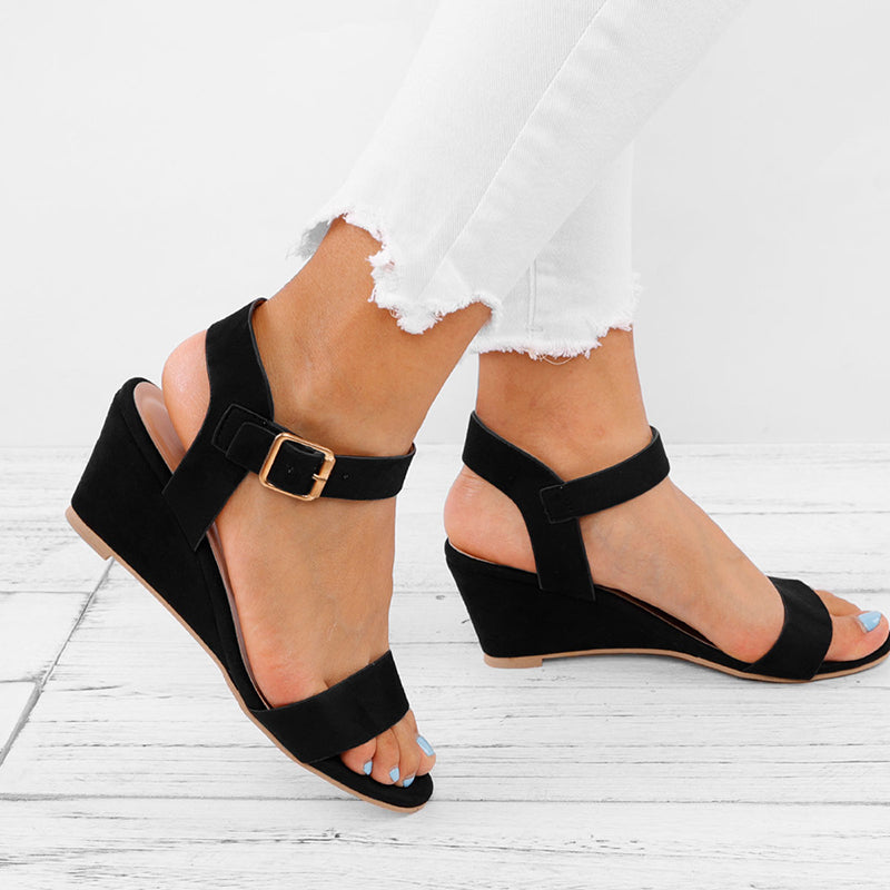 Women Plus Size Wedges Adjustable Buckle Sandals