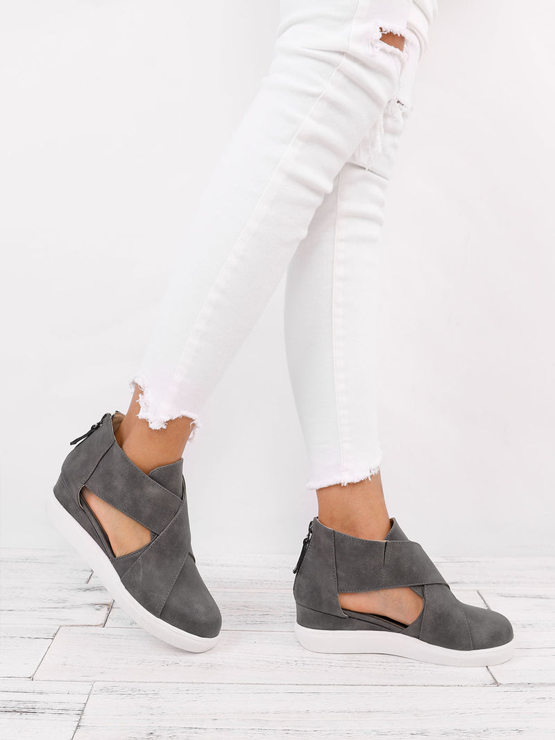 Faux Leather Zipper Daily Wedges