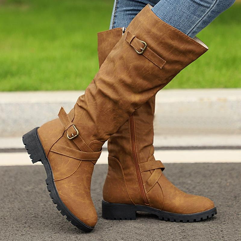 Casual Buckle Outdoor Low Heel Round Toe Boots