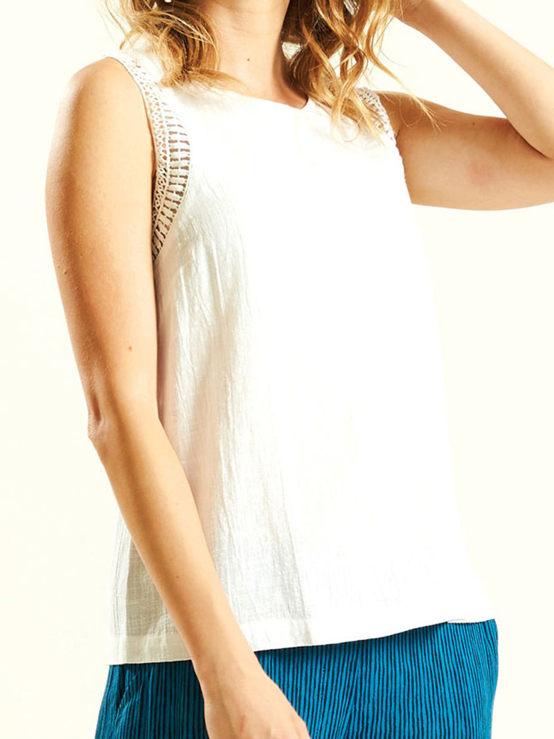 Boho Sleeveless Laser Cut Solid Top