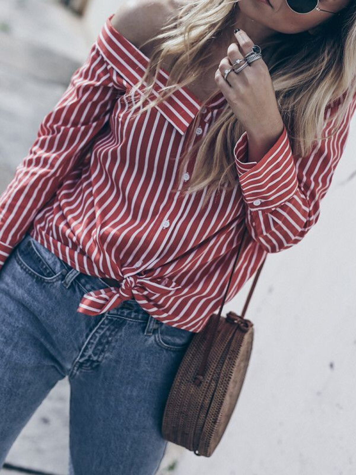 Casual Cold Shoulder Asymmetric Neck Striped Shirt