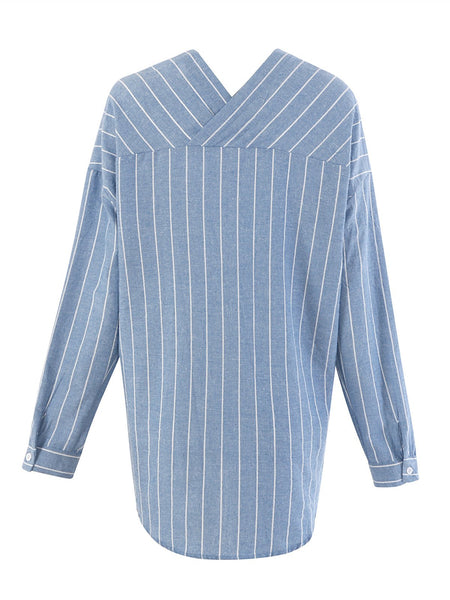 BF Style Striped Long Sleeve V Neck Blouse