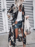 Casual Floral Shift Long Sleeve Kimono