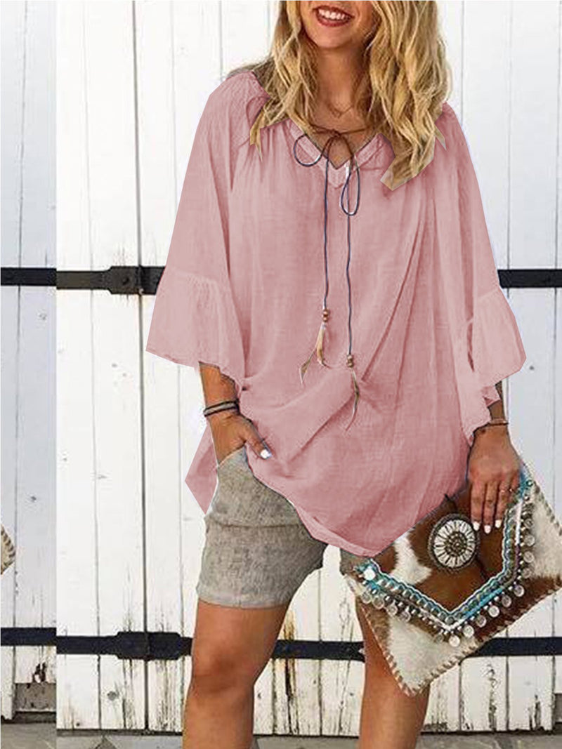 Bell Sleeve Casual V Neck Summer Blouse