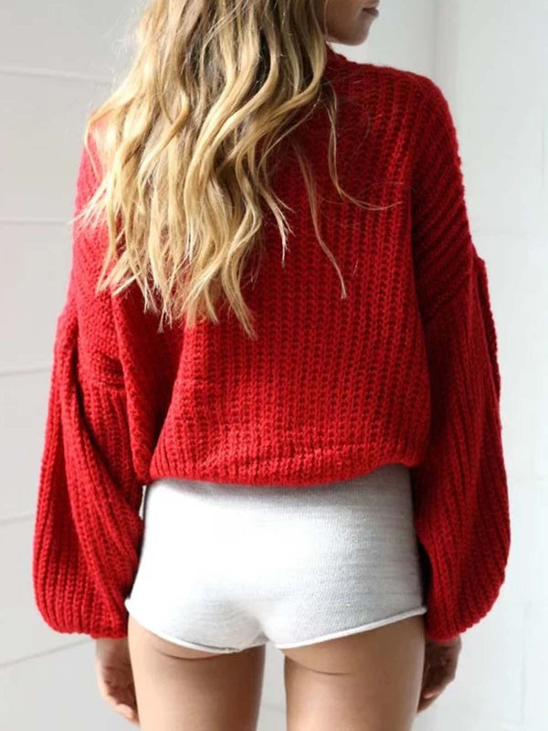 Balloon Sleeve Crew Neck Casual Solid Sweater