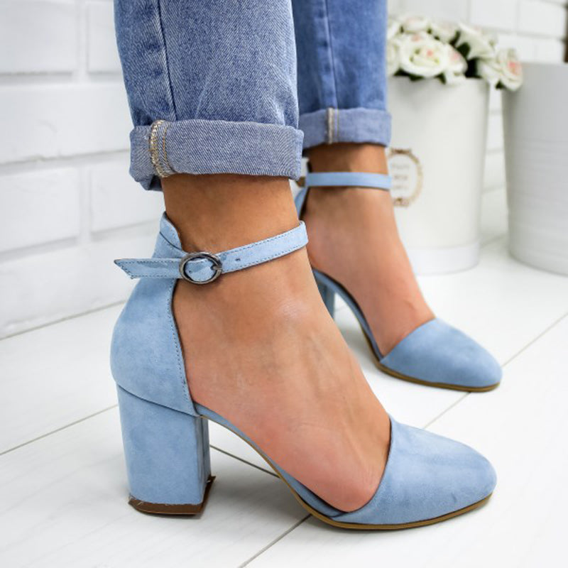 Women Closed Toe Heels Chunky Heel Ankle Strap Sandals Plus SIzes