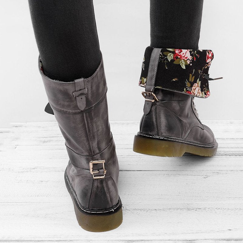 Womens Vintage Chunky Heel Lace-up Artificial Leather Daily Boots
