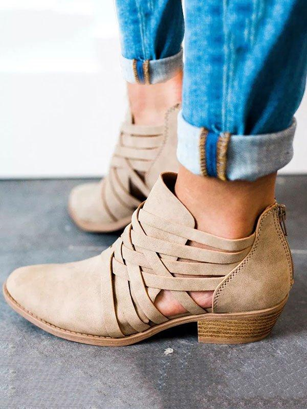 Casual Ankle Middle Heel Hollow-out Round Toe Boots