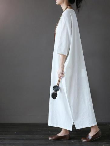 Casual Simple Half Sleeve Crew Neck Basic Solid Daily Maxi Dress