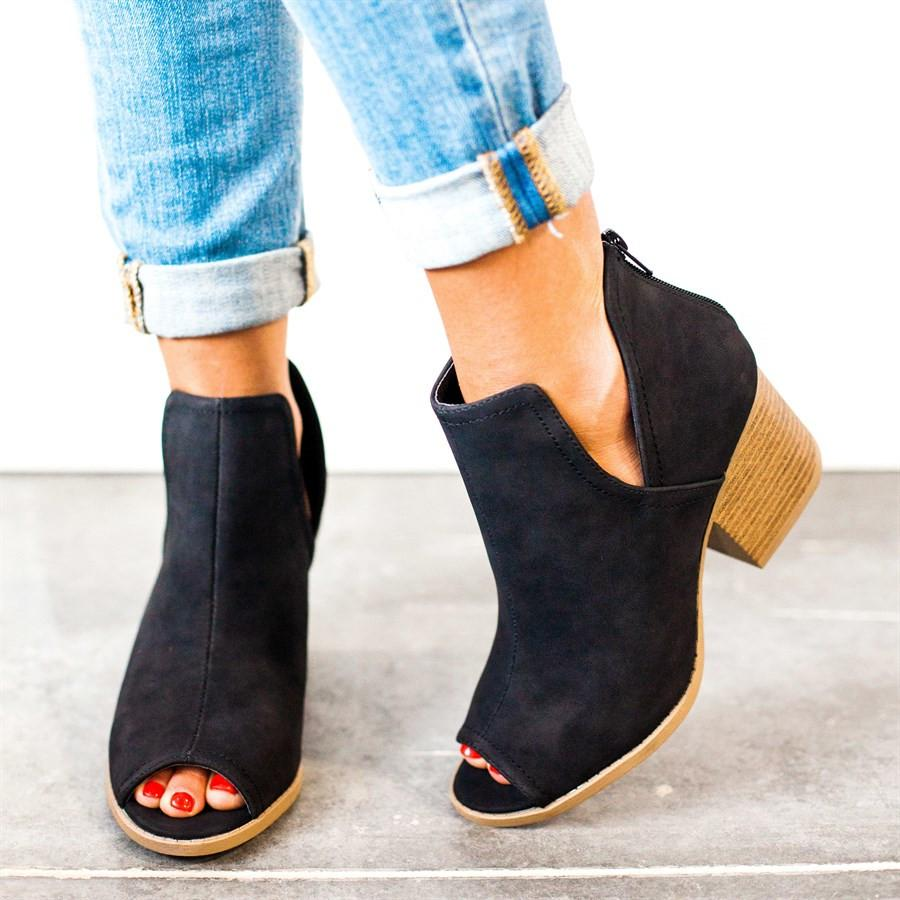 Casual Zipper Chunky Heel Peep Toe Ankle Boots
