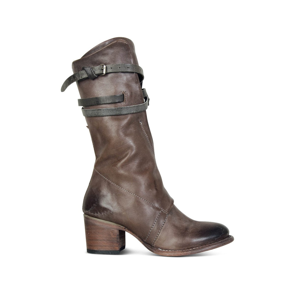 Vintage Low Heel Outdoor Boots Zipper Faux Leather Mid-calf Boots