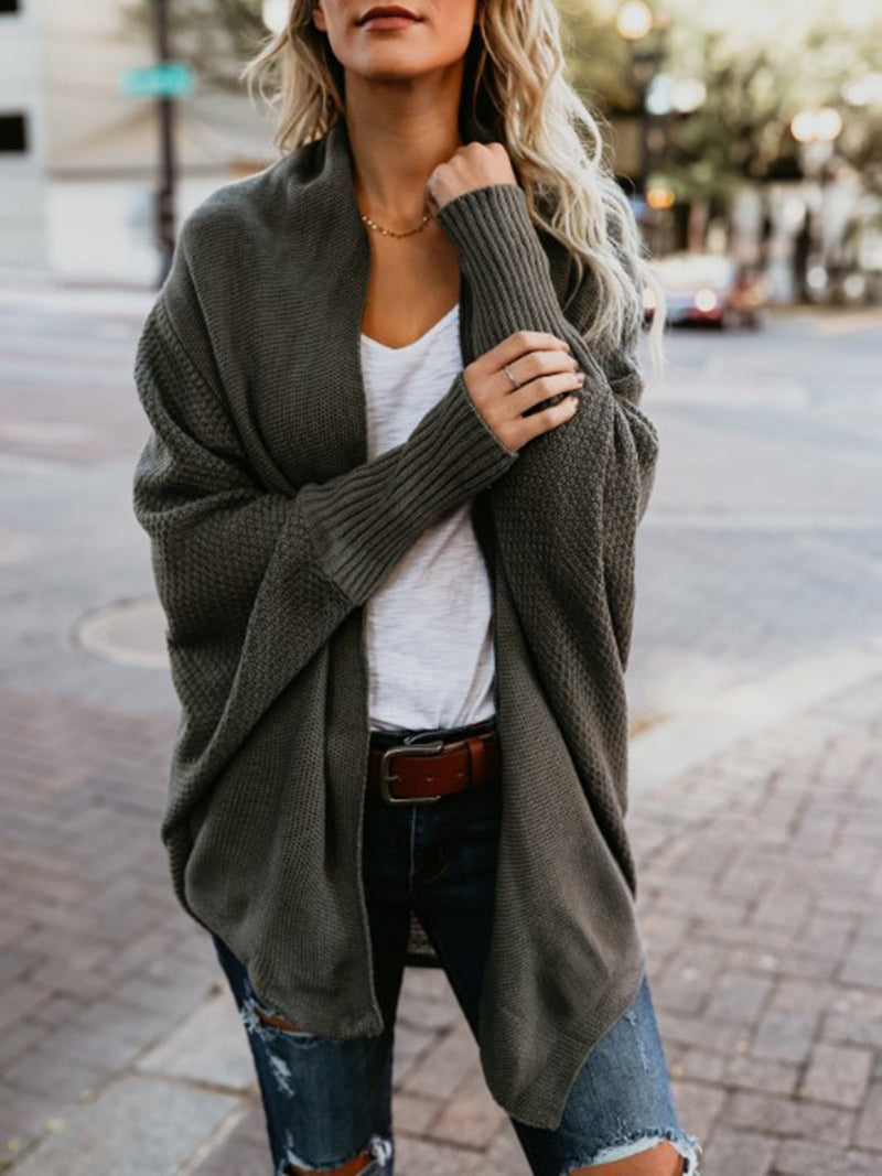 Casual Batwing Solid Knitted Cardigan