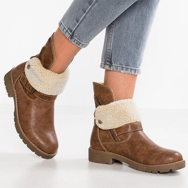Cowboy Warm Lined Ankle Button Low Heel Boots
