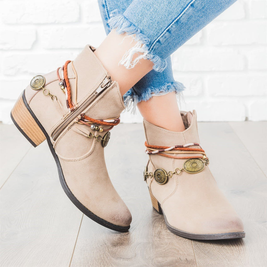 Cowgirl Chic Embellished Vintage Braided Strap Ankle Boots
