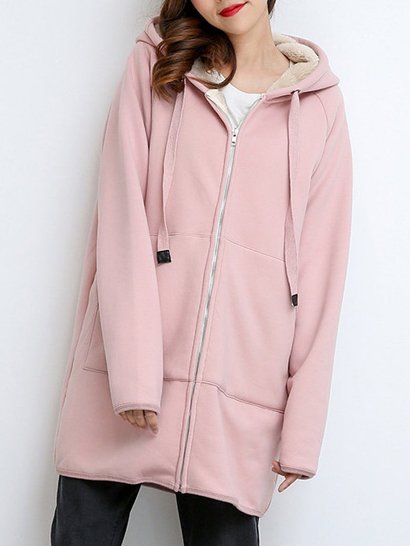 Casual Long Sleeve Hoodie Pocket Coat