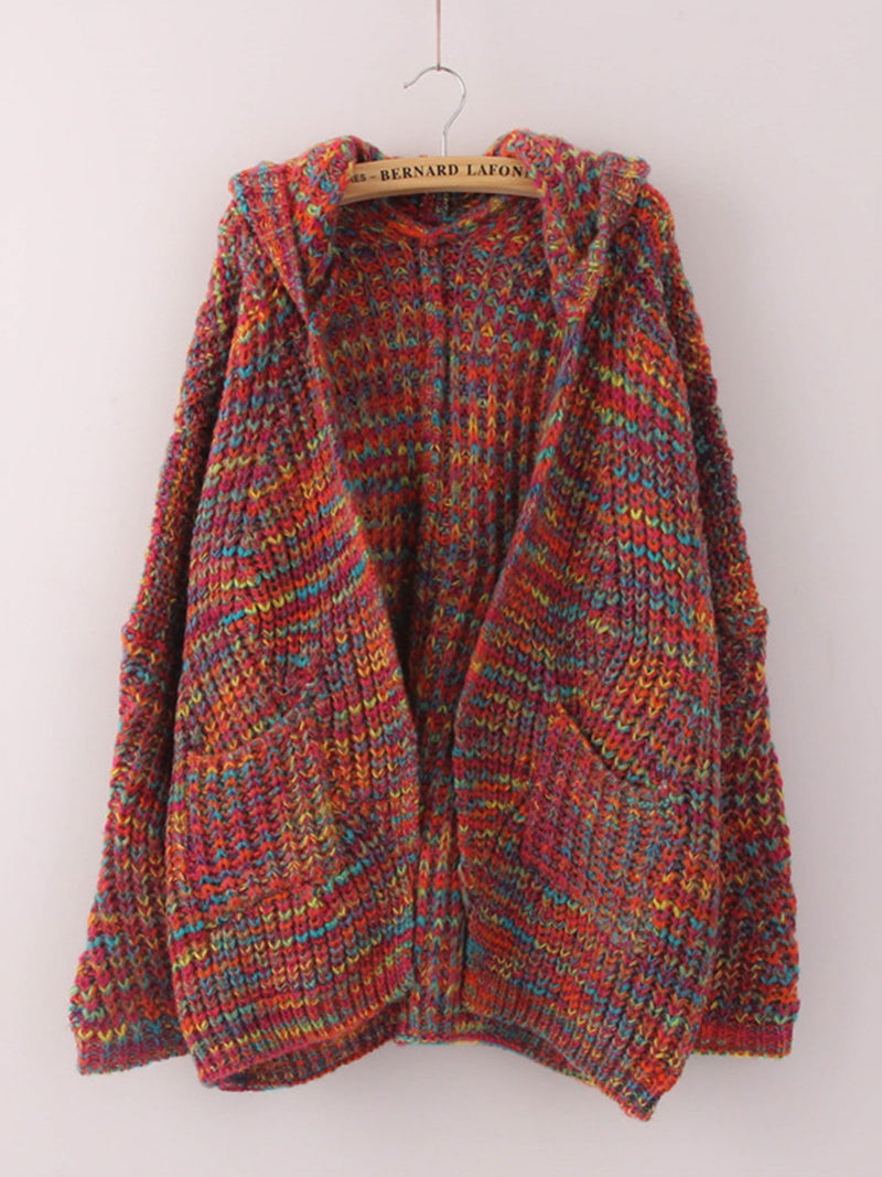 Colorful Pockets Knitted Casual Long Sleeve Cardigan