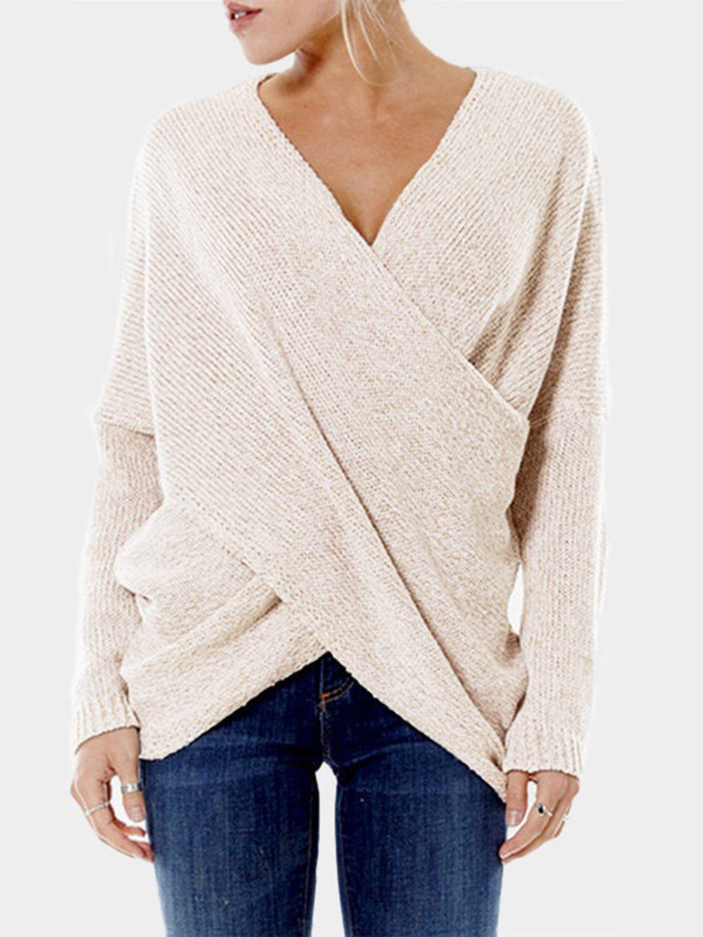 Asymmetrical Sexy V neck Long Sleeve Knitwear Sweater