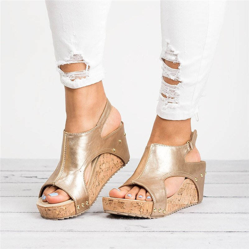 Pu Blocking Hook-Loop Wedge Heel Casual Sandals