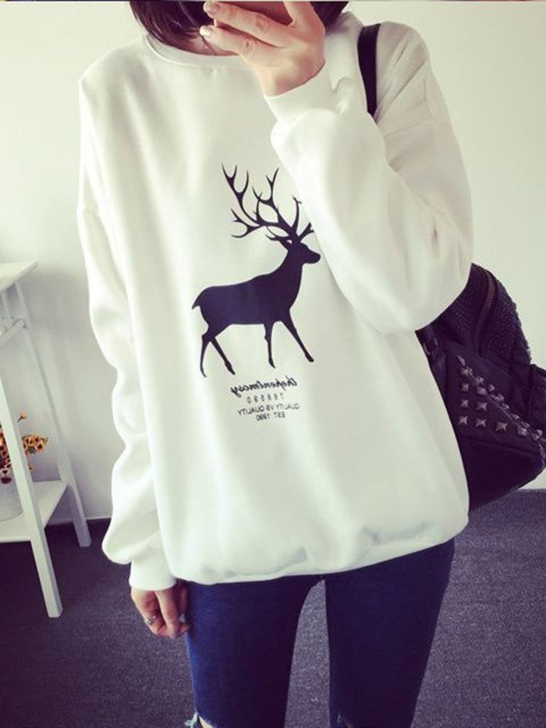 Animal Printed Long Sleeve Crew Neck Stretchy Sweatshirt