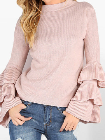 Casual Pink Frill Sleeve Solid Sweater