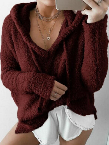 Casual Solid Fluffy Long Sleeve Hoodie