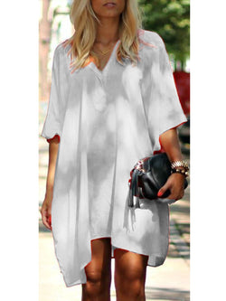 Women Casual Solid Half Sleeve Cotton Linen Dresses