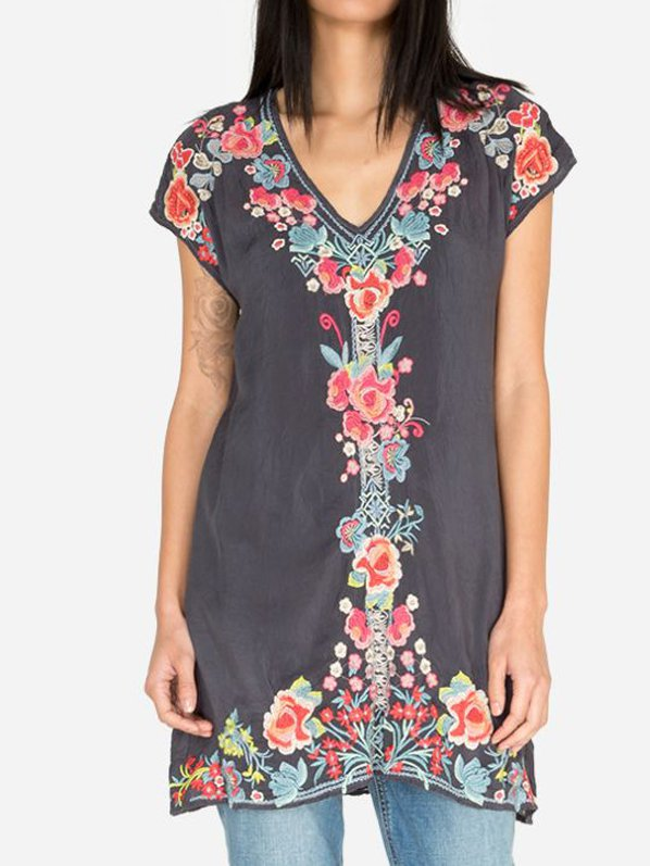Boho Short Sleeve Floral Dresses